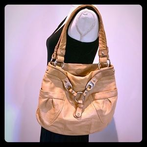 B. Makowsky Camel leather tote